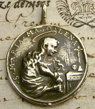 Antique 17th Century St.  Mary Magdalene & Mystic Bruno Of Cologne Bronze Medal