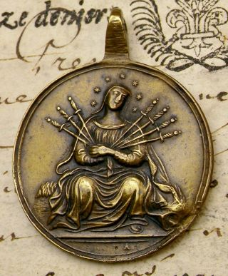 Carmelite Nun Antique 18th C.  Passion Of Christ Our Lady Of Sorrows Bronze Medal