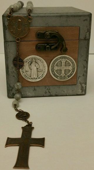 St.  Benedict Antique Bronze Rosary.  Built Very Strong.  The Our Father Beads Are