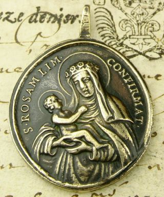 Antique 18th Century Rosa Mistica O.  L.  Of Guadalupe & Rose Of Lima Bronze Medal