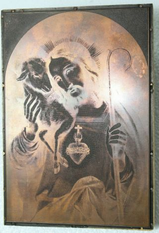 Copper Plate Jesus With Lamb Etching Intaglio Printing Religious 1l