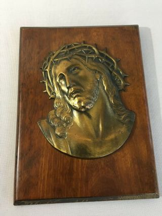 Antique Bronze Wall Face Mask Of Jesus Crown Of Thorns Signed Escudero Plaque