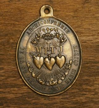 Antique French Religious Bronze Medal Pendant Archbrohterhood Of The Holy Family