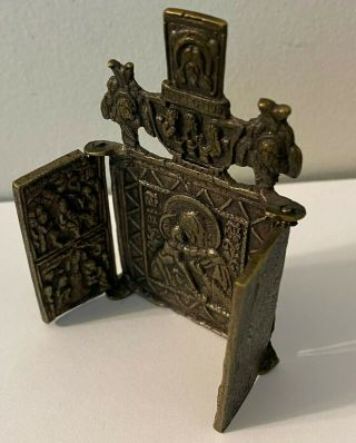 """Antique Folding Russian Bronze Tryptich Icon; (3.  25 """" X 3.  75 """" Open)"""