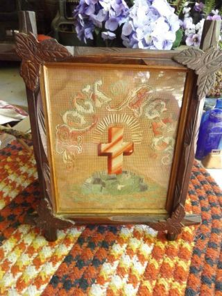 Lovely Antique Embroidered Rock Of Ages Crucifix Cross In Wood Frame