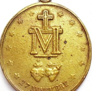 Large 1880 Antique Old Bronze Miraculous Medal Of Holy Mary Signed Artist Penin