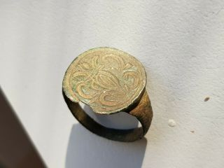 Antique Bronze Ring Imperial Russia - Coat Of Arms On The Shield