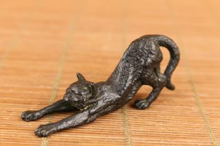 Lovely Fine Chinese Old Bronze Cat Statue Figure Noble Gift Table Decoration