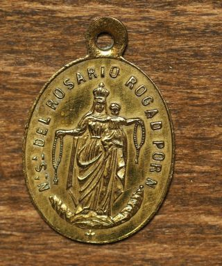 Antique Spanish Religious Bronze Medal Pendant Our Lady Of The Rosary
