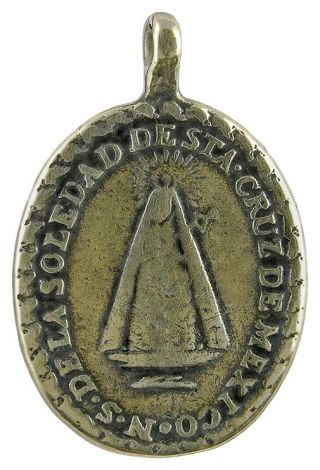 Our Lady Of Solitude / Draped Cross Medal,  Bronze,  From Antique Mexican
