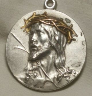 Antique Silver & Bronze Relief Christ Throne Of Thorns Medal Pendant Sgd France