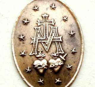Antique Bronze Pendant Signed Penin - The Miraculous Medal Of Holy Virign Mary