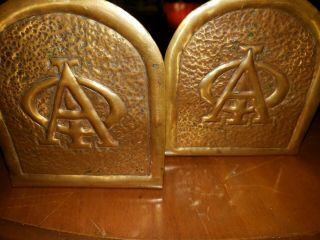 Antique Handwrought Copper Fraternity Bookends