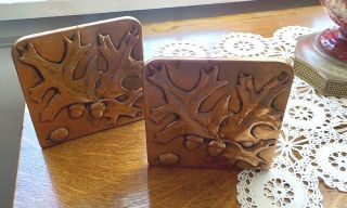 Antique Arts And Crafts Copper Bookends,  Acorns And Leaves Hand Tooled.