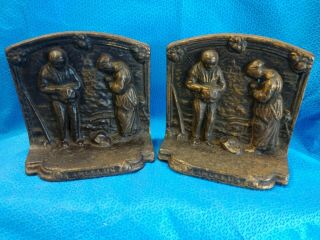 Antique Angelus Giving Thanks Call To Prayer Bronze Book Ends Vintage Old