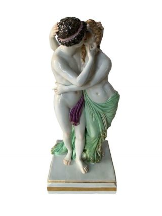 Rare Antique Meissen Porcelain Classical Group Of Lovers