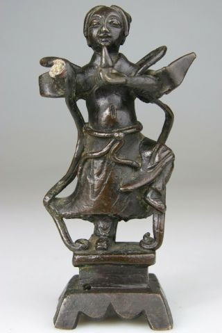 Antique Chinese Bronze Statue Figure Warrior Buddha - Late Ming 17th