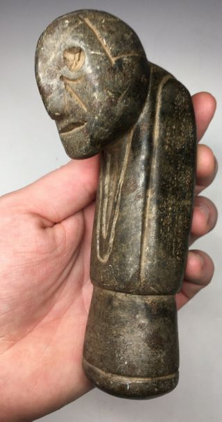 Rare Pre - Historic Human Effigy Steatite Native American Great Pipe Stone Carved
