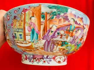 A Rare 18th Century Chinese Qing Dynasty Lovable Blue Large Punch Bowl