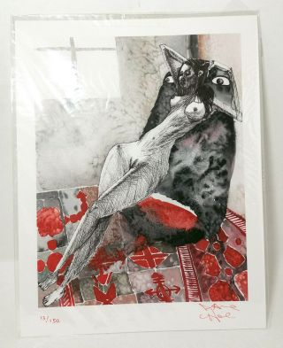 David Choe Signed Art Print Rare Limited Edition Watercolour Watercolor 2014 Red