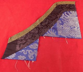Antique Chinese Blue Silk Damask Weave Dragon Robe Remnant Fragment Fabric Trim