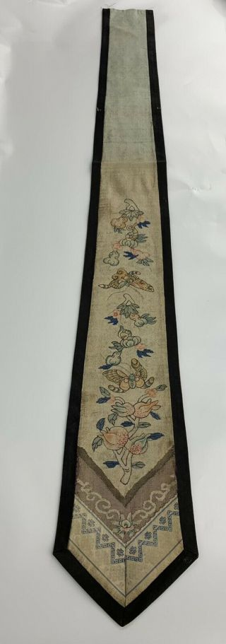Antique Qing Dynasty Chinese Silk Kesi Panel With Butterflies & Pomegranates