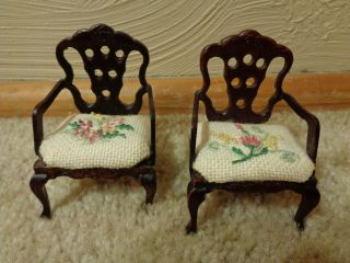 Dollhouse Furniture - Two (2) Side Chairs - Hand Embroidered Detail On Seats