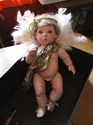 """Rare Vintage Porcelain Angel Girl With Wings Baby Doll Figurine 13"""""""""""