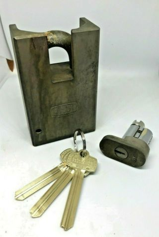 Rare Best Access Systems 91b Old Logo High Security Padlock Solid Stain.  Steel
