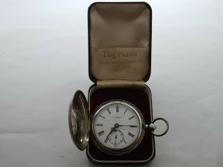Antique 1853 E J Hollins London Solid Silver Full Hunter Pocket Watch Box Rare
