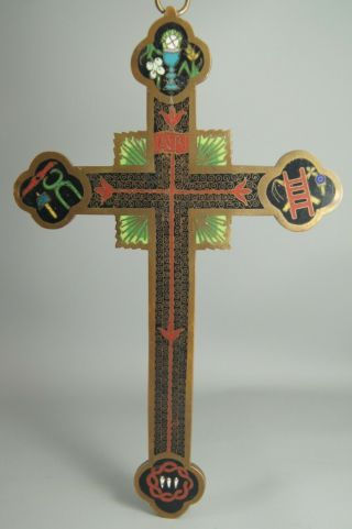 Rare Antique 19th C Qing Dynasty Chinese Export Cloisonne Enamel Bronze Cross Nr
