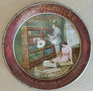 Antique Globe Wernicke Sectional Bookcases Tin Tip Tray Binghampton N.  Y.  1906