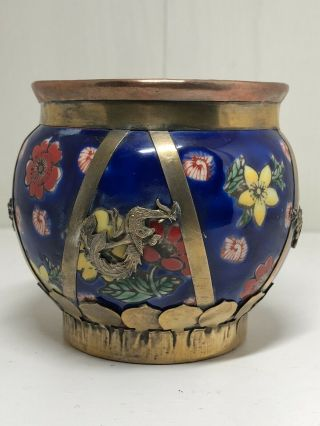 Vintage Chinese Ceramic Pot With Brass Dragon & Butterfly Detail Signed To Base