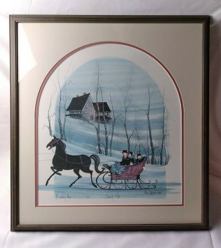 """P Buckley Moss 1987 """" Family Ride """" Signed By Artist,  Framed,  Rare Limited Edition"""