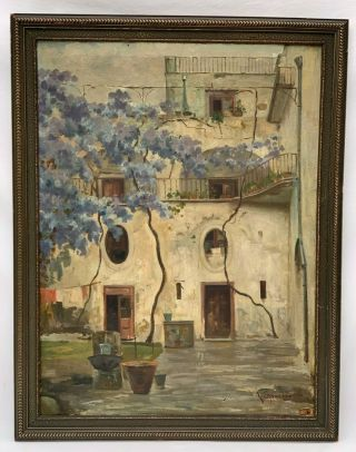 Old Rare Antique Esposito Signed Oil Painting Spanish,  French - Italian Courtyard