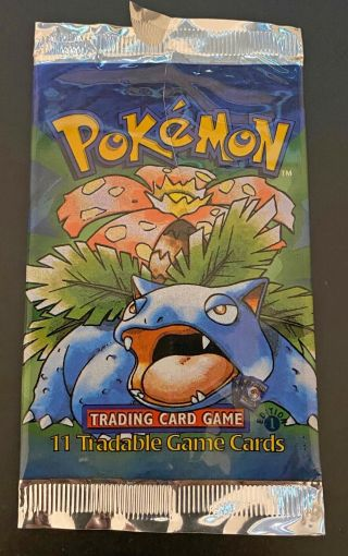 Pokemon Cards - Empty 1st Edition Base Set Booster Pack - Venusaur Artwork